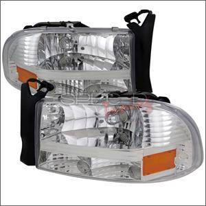 HEMI LIGHTING PARTS - Hemi Headlights - Spec D - Spec D Euro Head Lights (Chrome): Dodge Dakota / Durango 1997 - 2004