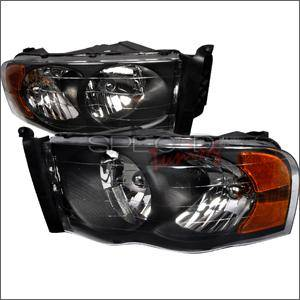 Spec D - Spec D Euro Head Lights (Black): Dodge Ram 2002 - 2005