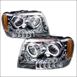 Jeep Grand Cherokee Lighting Parts - Jeep Grand Cherokee Headlights - Spec D - Spec D LED Projector HeadLights (Chrome): Jeep Grand Cherokee 1999 - 2004