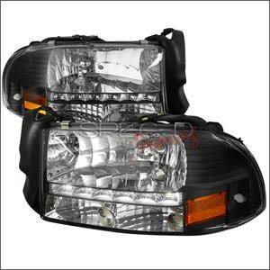 HEMI LIGHTING PARTS - Hemi Headlights - Spec D - Spec D Euro LED Head Lights (Black): Dodge Dakota / Durango 1997 - 2004