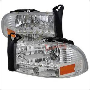 HEMI LIGHTING PARTS - Hemi Headlights - Spec D - Spec D Euro LED Head Lights (Chrome): Dodge Dakota / Durango 1997 - 2004