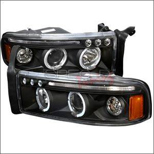 HEMI LIGHTING PARTS - Hemi Headlights - Spec D - Spec D LED Projector HeadLights (Black): Dodge Ram 1994 - 2001