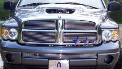 HEMI EXTERIOR PARTS - Hemi Grilles - APS - APS Bolt Over Stainless Steel Grille: Dodge Ram 2002 - 2005