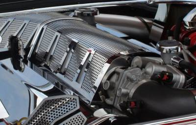 Dodge Charger Engine Accessories - Dodge Charger Stainless Accessories - American Car Craft - American Car Craft Perforated Plenum Cover: Chrysler 300C / Dodge Challenger / Charger / Magnum SRT8 2006 - 2010