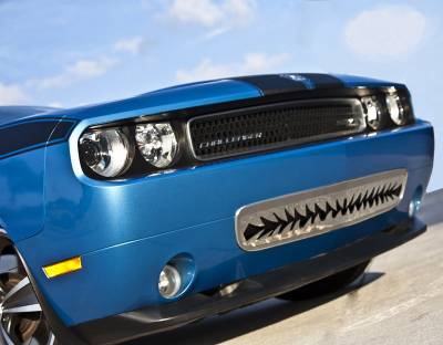 "HEMI EXTERIOR PARTS - Hemi Grilles - American Car Craft - American Car Craft Polished ""Shark Tooth"" Lower Front Grille: Dodge Challenger R/T SRT8 2008 - 2014"