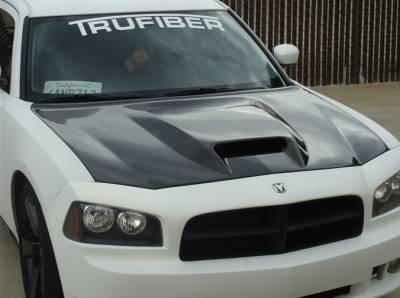 Dodge Charger Carbon Fiber Parts - Dodge Charger Carbon Fiber Hood - TruCarbon - TruCarbon A23 Carbon Fiber Hood: Dodge Charger 2005 - 2010