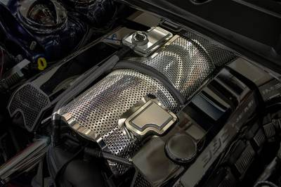 Dodge Challenger Engine Acc - Dodge Challenger Stainless Acc - American Car Craft - American Car Craft Perforated Plenum Cover: Chrysler 300C / Dodge Challenger / Charger / Grand Cherokee 6.4L SRT8 2011 - 2017