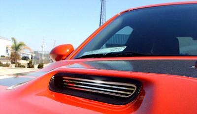 HEMI EXTERIOR PARTS - Hemi Grilles - American Car Craft - American Car Craft Polished Billet Hood Scoop Grilles: Dodge Challenger 2008 - 2014