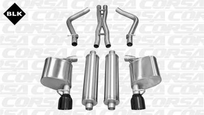 5.7L / 6.1L / 6.4L Hemi Engine Parts - Hemi Exhaust Systems - Corsa - Corsa Extreme Cat-Back Exhaust (Black): 300C / Charger SRT8 2012 - 2014