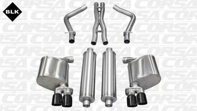 Corsa - Corsa Sport Cat-Back Exhaust (Black): Dodge Charger R/T 5.7L V8 2011 - 2014