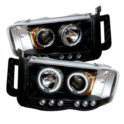 Dodge Ram Lighting Parts - Dodge Ram Headlights - Spyder - Spyder CCFL Halo Projector Headlights (Black): Dodge Ram 2002 - 2005