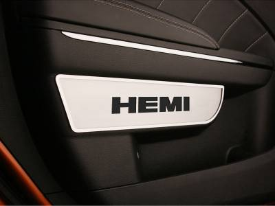 "HEMI INTERIOR PARTS - Hemi Interior Trim Accessories - American Car Craft - American Car Craft ""HEMI"" Front Door Badges With Carbon Fiber Inlay: Dodge Charger / Chrysler 300 2011 - 2013"