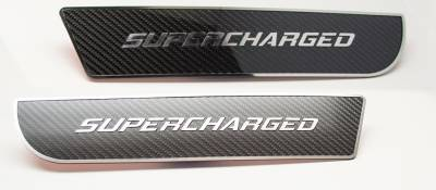 "American Car Craft - American Car Craft Front Carbon Fiber ""SUPERCHARGED"" Door Badge 2pc: Dodge Charger 2011 - 2021 - Image 2"