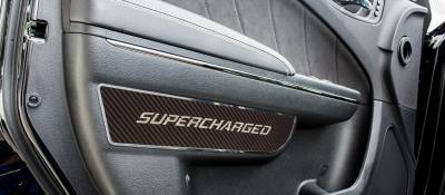 "American Car Craft - American Car Craft Front Carbon Fiber ""SUPERCHARGED"" Door Badge 2pc: Dodge Charger 2011-2015"