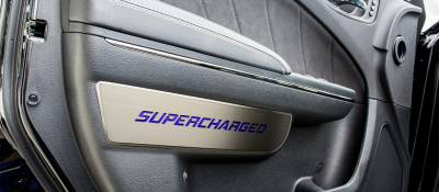 "American Car Craft - American Car Craft Front Brushed ""SUPERCHARGED"" Door Badge 2pc: Dodge Charger 2011-2015"