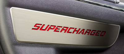 "American Car Craft - American Car Craft Front Brushed ""SUPERCHARGED"" Door Badge 2pc: Dodge Charger 2011 - 2021 - Image 2"