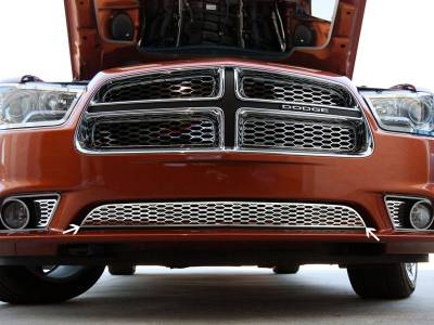 HEMI EXTERIOR PARTS - Hemi Grilles - American Car Craft - American Car Craft Lower Polished Grille Overlay: Dodge Charger R/T 2011 - 2014