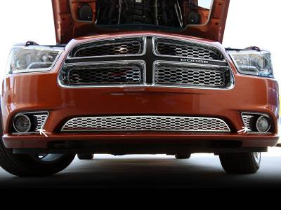HEMI EXTERIOR PARTS - Hemi Grilles - American Car Craft - American Car Craft Polished Factory Fog Light Overlay: Dodge Charger R/T 2011 - 2014