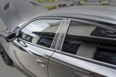 American Car Craft - American Car Craft Carbon Fiber Door Pillar Plate with Brushed Trim: Dodge Charger 2011-2015