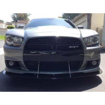 HEMI EXTERIOR PARTS - Hemi Spoilers - APR - APR Carbon Fiber Front Wind Splitter w/ Rods: Dodge Charger SRT8 2012 - 2014