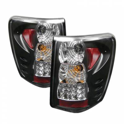 HEMI LIGHTING PARTS - Hemi Tail Lights - Spyder - Spyder Black LED Tail Lights: Jeep Grand Cherokee 2005 - 2006