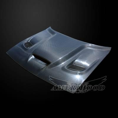HEMI EXTERIOR PARTS - Hemi Hoods - Amerihood - Amerihood Carbon Fiber Hellcat Functional Ram Air Hood: Dodge Challenger 2008 - 2020