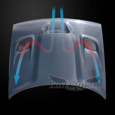 Amerihood - Amerihood Carbon Fiber Hellcat Functional Ram Air Hood: Dodge Challenger 2008 - 2020 - Image 7