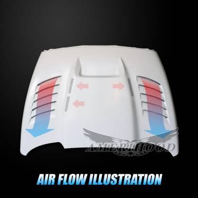 Amerihood - Amerihood SSK Functional Ram Air Hood: Dodge Ram 3500 2003 - 2009 - Image 9
