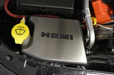 "HEMI CARBON FIBER PARTS - Hemi Carbon Fiber Accessories - American Car Craft - American Car Craft Factory Anti-lock Brake Cover ""HEMI"" Top Plate: Dodge Challenger 2015 - 2021"