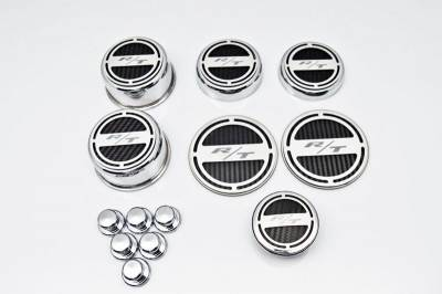 "Dodge Challenger Engine Acc - Dodge Challenger Stainless Acc - American Car Craft - American Car Craft ""R/T"" Deluxe Fluid & Shock Tower Cap Covers (13PC): Dodge Challenger 5.7L Hemi 2009 - 2021"