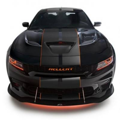 HEMI EXTERIOR PARTS - Hemi Trim Accessories - APR - APR Carbon Fiber Front Wind Splitter w/ Rods: Dodge Charger Scat Pack / Hellcat Widebody ONLY 2019 - 2021
