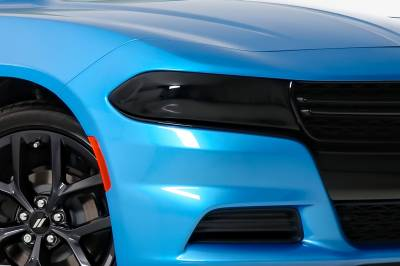 Dodge Charger Exterior Parts - Dodge Charger Light Covers - GT Styling - GT Styling Smoke Headlight Covers: Dodge Charger 2015 - 2021